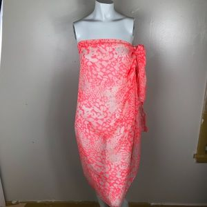 Other - Coral White Sarong  Swimwear Cover Up Scarf Wrap.
